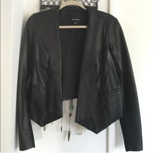 Trouve Black Leather Jacket, worm once XS